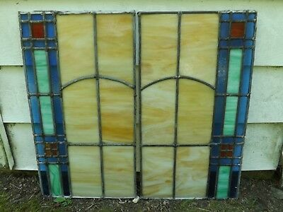Antique Vintage Leaded Stained Glass Windows Slag Pair Arts & Crafts Salvage