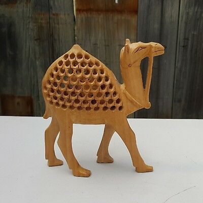 Hand CARVED WOOD CAMEL w/ Baby Inside FIGURINE ~ JALI INDIA Lattice Work Statue