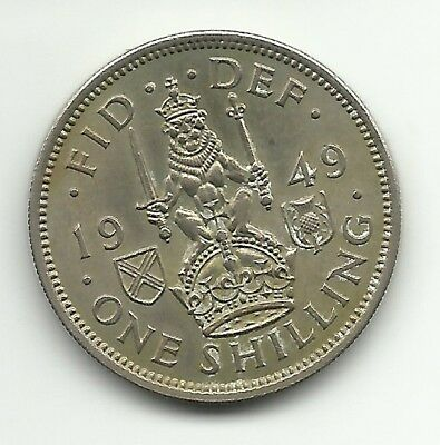 UK Great Britain British  One Shilling  1949 Coin -(Scotland Version) KM#877