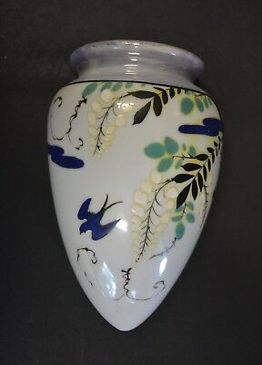 "Vintage Hand Painted Japanese Lusterware Wall Pocket: Bird and Flowers 6.5"" Tall"