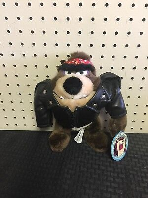 "TASMANIAN DEVIL Plush Biker Black Leather Jacket & Red Bandana 9"" 1993"