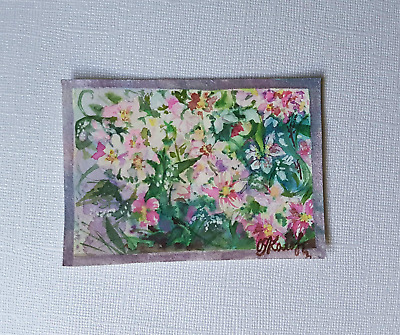 ACEO Original Painting Art Card Watercolor Flower 100% Handcrafted
