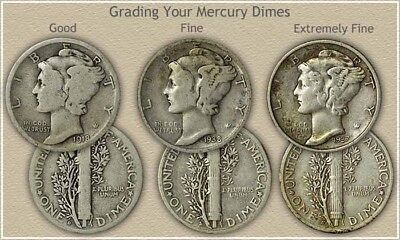 Silver Mercury Dimes (1916-1945) Choose How Many!! G-F! ALL HAVE DATES