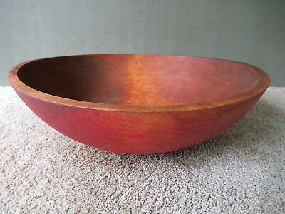 Antique Dough Bowl Large 18 Round Wood Vintage Primitive Country Red Paint