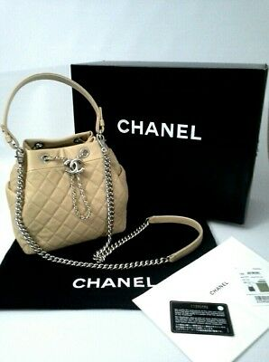 22c45f5184c8 CHANEL CHAIN BUCKET Drawstring Bag Quilted Lambskin Light Beige White Metal  NWT