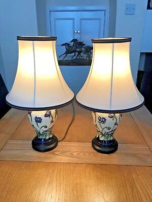 A Pair of Moorcroft Lamps 'Hepatica' complete with Original Silk Shades