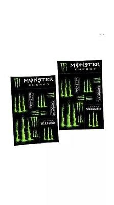 2 X Monster Energy Drinks Logo Sheet of 12 Stickers Decals