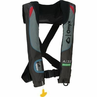 A-33 In-Sight Grey/Black Auto Inflatable Life Jacket Vest IPFD - Adult Universal