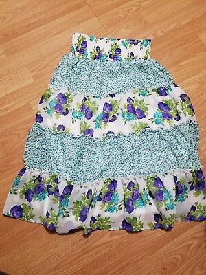 Speechless Girls Long Tiered Floral Skirt Size L