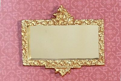 Dollhouse Miniature 1:12 Scale Gold Embossed Framed Mirror