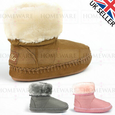 Girls Kids Slippers Luxury Faux Fur Bootie Memory Insole Comfy Sizes 4Inf- 2Uk