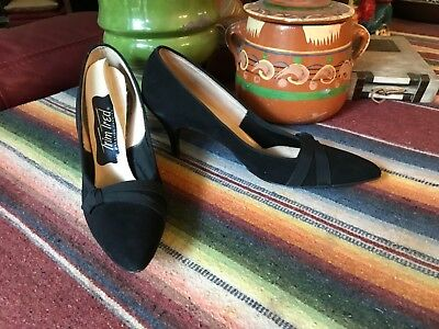 VINTAGE 1950s Trim Tred Black Suede Pointy Toe HIGH HEEL SHOES 7AA