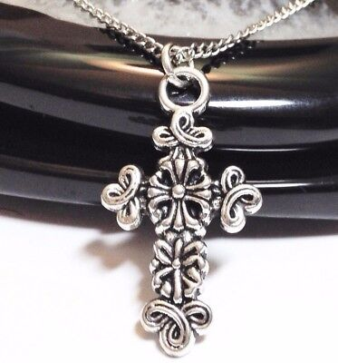 "FLORAL CROSS_Pendant on 18"" Chain Necklace_Christian Catholic Jesus Silver_3N"