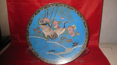 Antique Japanese Export Enameled Cranes Bamboo Flowers Cloisonne Charger