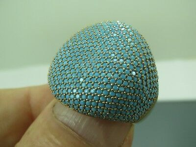 Turkish Handmade Jewelry 925 Sterling Silver Turquoise Stone Ladies' Ring Sz 7