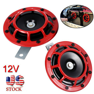 Loud Car Horn >> 12v Red Super Loud Blast Tone Grill Mount Electric Compact Car Horn