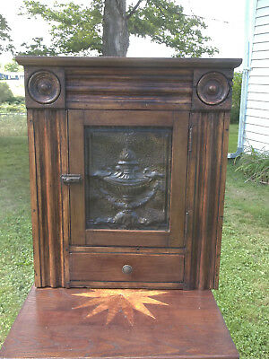 Carved Hanging Cupboard / Cabinet, Not Tiger Maple.hand dovetailed. Mortis tenon