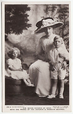 QUEEN VICTORIA OF SPAIN - Alfonso & Beatrice - 1912 used Real Photo postcard