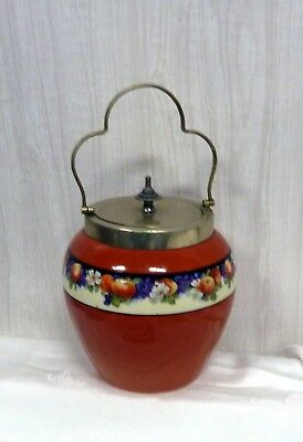 Antique Victorian Biscuit Barrel Cracker Jar Porcelain English Ware EPNS Flowers
