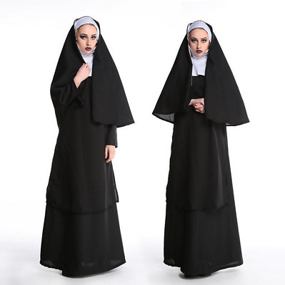 Women Nun Cosplay Costume With Stockings Hoodie Full Carnival fancy Outfit -y