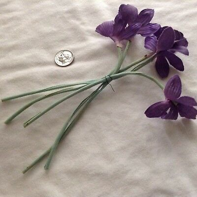 1940's Vintage Millinery Flowers 5 Lavender Pansies cloth with cloth stems
