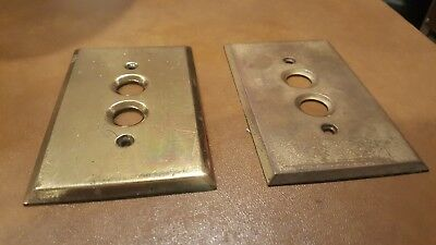 Vintage Solid Brass Double Push Button Wall Light Switch Cover Plate
