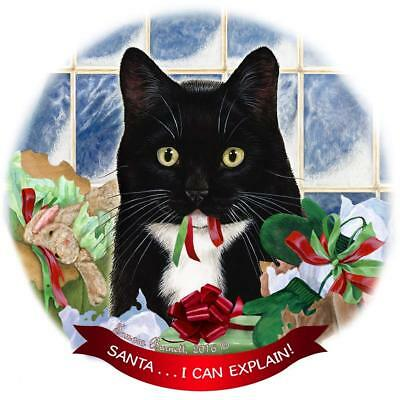 Tuxedo Cat Porcelain Hanging Ornament Pet Gift 'Santa.. I Can Explain!'