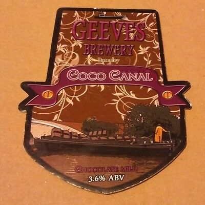 Beer pump clip badge front GEEVES brewery COCO CANAL cask ale Yorkshire