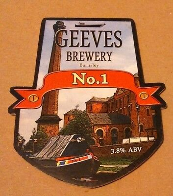 Beer pump clip badge front GEEVES brewery No.1 cask ale Yorkshire narrowboat