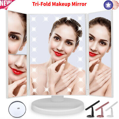 Tri-Fold Stand Vanity Makeup Cosmetic Mirror 22 LED + Magnification Touch Screen