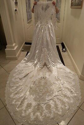 Traditional White Lace Sequin, beaded and pearl Wedding Dress
