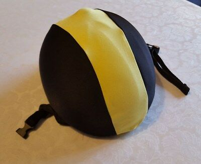 CapzLycra Horse Pony Riding Hat Skull Cover,black and yellow