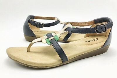 106632789af Clarks Womens 8.5M Blue Green Gold Leather T-Strap Low Wedge Thong Sandals