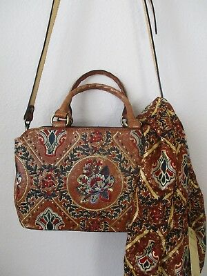 NWT PATRICIA NASH ANGELIN RED//BLUE EMBROIDERED LEATHER SATCHEL PURSE W SCARF