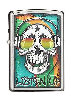 Zippo Listen Up Skull Lighter, Brass, Stainless Steel 1 x 6 x 6 cm .