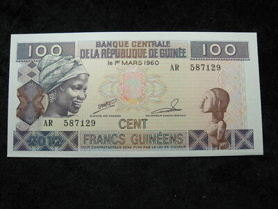 1 old world foreign currency banknote GUINEA AFRICA 100 francs 1985 P30 bananas