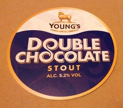 Beer pump clip badge front YOUNG'S brewery DOUBLE CHOCOLATE STOUT cask ale