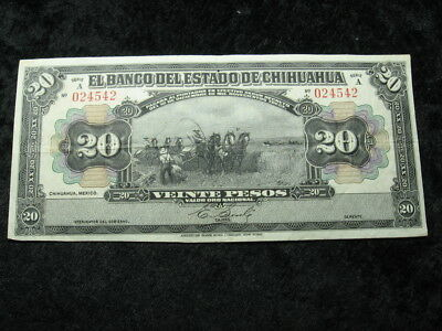 """1 old world foreign currency banknote MEXICO CHIHUAHUA 20 pesos 1913 """"farmers"""""""