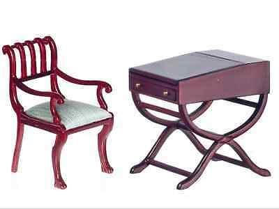 Dollhouse Miniature - Explorer's Desk & Chair - Mahogany Finish - 1:12 sc