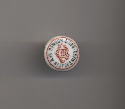 Pre-Pro Porcelain Beer Bottle Stopper - Dawson Brewery  - New Bedfrord Ma