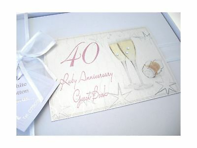 40th Ruby Anniversary, Guest Book, Champagne Glasses .