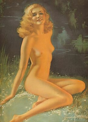 """Nude By A Lake"" Pin-Up Print  by Rolf Armstrong  8 x 10 inches"
