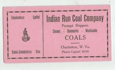vintage INK BLOTTER INDIAN RUN COAL COMPANY CHARLESTON WEST VIRGINIA