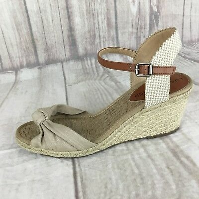 39ced2ddd70 LUCKY BRAND WOMENS Brown Beige Espadrille Wedge Sandals Size 6 ...