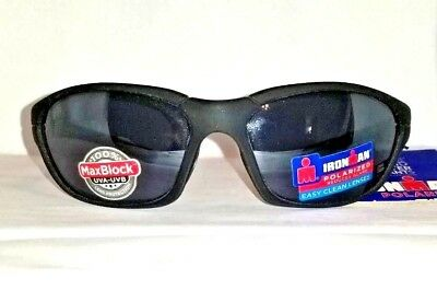 2e27a43c12 Foster Grant Ironman Courage Black Polarized Sport Sunglasses w Easy Clean  Lens