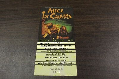 RARE Alice in Chains 1993 Concert Ticket Stub Signed by Layne Staley - Dirt Tour
