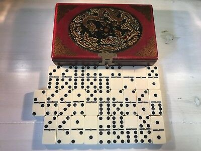 Vintage Chinese Leather and Wood Box with Dominos