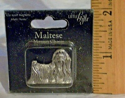 MALTESE Dog Magnet Charm Photo Frame Fridge + By Little Gifts Silvertone Solid