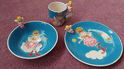 Essex Collection Magic Fairy Princess Child's Plate Cup and Bowl ceramic Rare