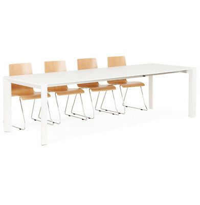 Table design extensible 'MAMAT' blanche mate - 190(270)x95